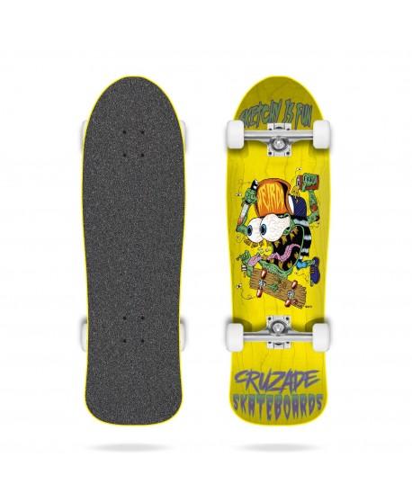 "Skateboard Cruzade Sketchy is Fun 9"" Yellow (Completo)"