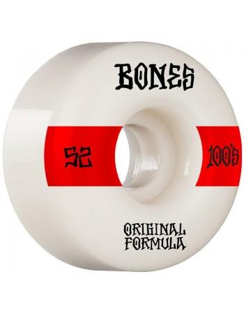Ruedas Skateboard Bones 100'S 14 V4 Wide White 52mm 100a (Set 4)